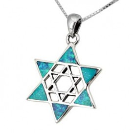 Silver and Opal Star-Within-a-Star Pendant