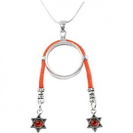 Ring Pendant with Red String & Stars of David