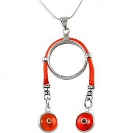 Ring Pendant with Red String and Protecting Eyes