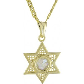 Star of David 14K Gold Roman Glass Pendant