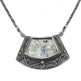 Sterling Silver Filigree Roman Glass-filled Necklace