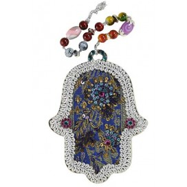 Blue Floral Handmade Hamsa With Beads