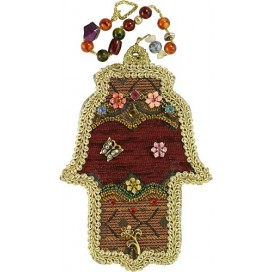 Gold & Floral Handmade Hamsa With Beads
