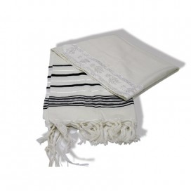 Pure Wool Tallit- Black and Silver