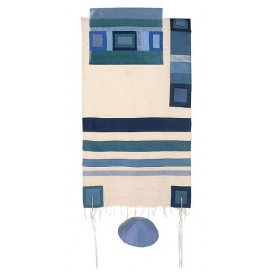 Yair Emanuel Raw Silk Tallit With Blue Stripes